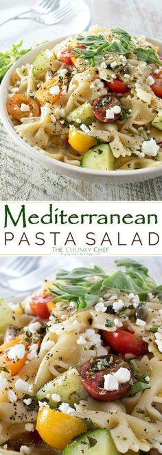 Mediterranean Pasta Salad | Step up your pasta salad game with this fresh and colorful Mediterranean pasta salad with red wine and herb dressing!