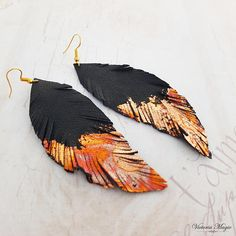 Black-gold copper Leather earrings Long leather feathers