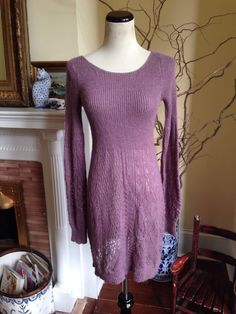 KNITTED & KNOTTED ANTHROPOLOGIE PURPLE Womens Dress SMALL CROCHET BOHO 4 HIPPIE #ANTHROPOLOGIE #KNITTEDKNOTTED #SweaterDress #Casual #crochet
