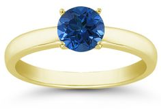 Sapphire Gemstone Solitaire Ring in 14K Yellow Gold