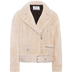 Acne Studios Merlyn Shearling Jacket ($2,745) ❤ liked on Polyvore featuring outerwear, jackets, coats & jackets, white, white jacket, acne studios jacket, acne studios, sheep fur jacket and shearling jacket