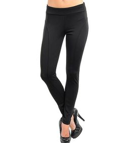 Take a look at this Black Fold-Over Leggings by Buy in America on #zulily today!