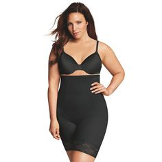 Plus Size Maidenform Shapewear Curvy Firm High-Waist Thigh Slimmer DM1024, Women's, Size: 1XL, Black