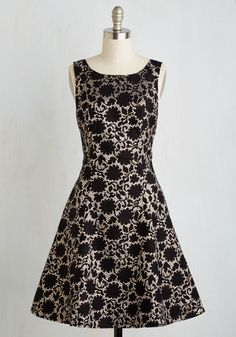 Sorrento Sparkle Dress by ModCloth - Black, Gold, Print, Holiday Party, Fit & Flare, Sleeveless, Woven, Better, Exclusives, Private Label, Mid-length, Glitter