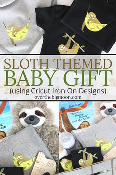 Sloth Themed Baby Gift using Cricut Iron On Designs! This is the CUTEST gift basket theme that is perfect for a boy or girl! Plus, the DIY onesie and blankets are SO simple to make! Easy Diy Crafts, Creative Crafts, Diy Crafts To Sell, Diy Crafts For Kids, Geek Crafts, Sell Diy, Kids Diy, Decor Crafts, Cute Gifts