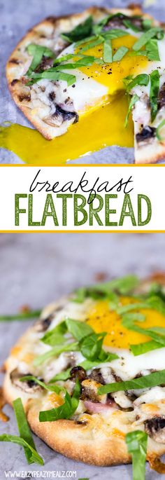Breakfast Flatbread: Stonefire Mini Naan topped with hearty breakfast meats, fresh veggies, and pepperjack cheese, with an egg nestled into the center, then baked to perfection! In 15 minutes this breakfast could be yours. #naantraditional - Eazy Peazy Mealz