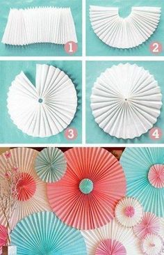 DIY Backyard Party Decor - DIY Paper Rosettes - Cool Ideas for Decorations for Parties - Easy and Cheap Crafts for Summer Barbecues and Family Get Togethers, Swimming and Pool Party Fun - Step by Step Tutorials For Banners, Table Decor, Serving Ideas Origami Flowers, Paper Flowers, Diy Flowers, Shade Flowers, Paper Flower Garlands, Origami Hearts, Flower Diy, Flower Crafts, Diy Décoration