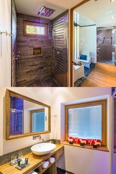 Exclusive and luxurious apartments in the alpinlodge & spa in Samnaun Switzerland in the Ski Resort Silvretta Arena. Luxury and panoramic views Bathroom Spa, Luxury Spa, Apartment Design, Contemporary Design, Relax, Mirror, Architecture, Home Decor, Arquitetura