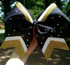 Black and gold cheer bow black and gold softball by CraftyOhBows