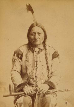 Sitting Bull with peace pipe, 1884.