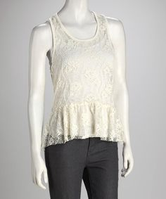 Take a look at this Vanilla Cupcake Lace Ruffle Tank by Love By Design on #zulily today!