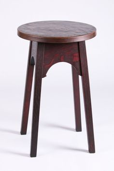 """Gustav Stickley copper-top drink stand. Signed with branded mark on side. Excellent original finish and original patina to top. 28""""h x 18""""d"""