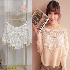Women Hollow Out Top Lace Cutout Crochet Cape Collar Batwing Sleeve Blouse Shirt #UnbrandedGeneric #LaceCape #Casual