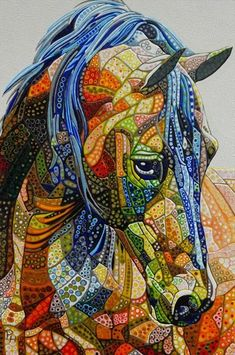 Abstract Horse 9 (Sculptural) by Paula Horsley Mosaic Animals, Abstract Animals, Horse Quilt, Art Watercolor, Animal Quilts, Horse Drawings, Horse Sculpture, Art Graphique, Equine Art