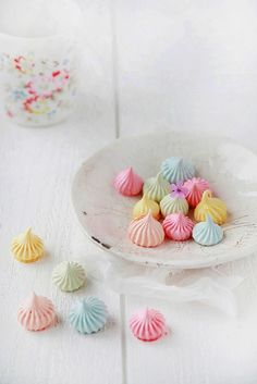 Pretty in pastels. Sweet dainty meringues, perfect for baby showers, tea parties or just a sweet treat.