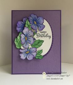 Blended Seasons limited edition stamp set colored using the Watercolor Pencils Asst Night of Navy, Gorgeous Grape, Crushed Curry, and Garden Green Homemade Birthday Cards, Homemade Cards, Card Making Tips, Making Ideas, Purple Cards, Stamping Up Cards, Pretty Cards, Card Sketches, Copics