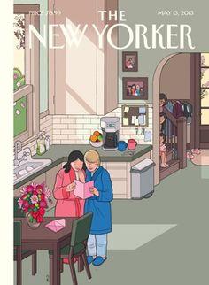 """Mamás lesbianas en la portada para el día de madres de """"The New Yorker"""" ilustrada por Chris Ware."""