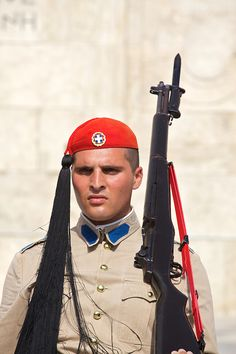 "Presidential Guard, Athens, Greece - Very cool to see the way they start and end ""a shift"" and the traditional ""dance"" they do"
