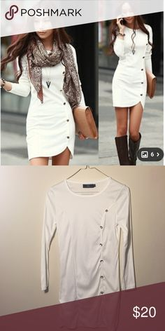 White Long Sleeve Button Down Dress So cute and adorable ! Worn once. In great used condition. Minimum signs of use. 30 inches in length. Dresses