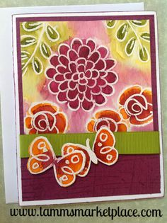 Hand Painted Butterfly and Flower Card MKC068
