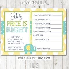 Digital Printable Baby Pricing Game Cards with by HeadsUpGirls, $5.00