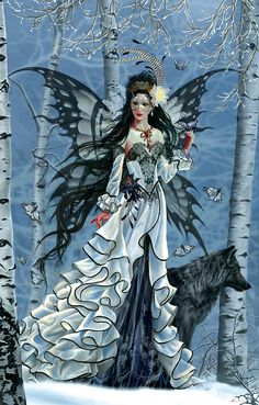 Aveliad by Nene Thomas *** Fairy Myth Mythical Mystical Legend Elf Faerie Fae Wings Fantasy Elves Faries Sprite Nymph Pixie Faeries Hadas Enchantment Forest Whimsical Whimsy Mischievous Wolf Gothic Fantasy Art, Gothic Fairy, Fantasy Artwork, Fantasy Love, Anime Fantasy, Medieval Fantasy, Final Fantasy, Magical Creatures, Fantasy Creatures
