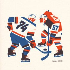 """Since all orders for my Ice Hockey Showdown riso print are from Canadians (such win! much gold!), and several request to change the shirt number came in, I changed the right player into number 87. 10.2""""x 10.2"""" print, just off to the Riso printer! Lay your paws on one of these limited [36] edition prints while they last. for sale at www.estheraarts.nl/en/store/248/Ice_Hockey_Showdown_Red__Blue"""