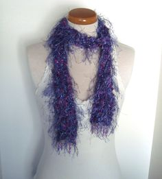 Vintage Handmade Purple Beaded Fringe Scarf - Sparkle Yarn With Squares of Pink and Purple. Long Scarf Funky Geometric Gifts Under 20 Arty by LobeliaBidelia on Etsy