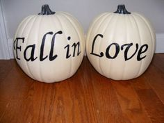Fall Wedding Decoration White Pumpkins with Words Fall in Love Reception Decor | eBay
