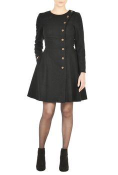 Military inspired metallic buttons the side front of our cozy wool-infused dress cut for a feminine look with fit-and-flare styling that ends with a flouncy hem.