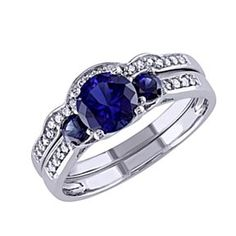 Created Blue Sapphire And 1/6 Ct Diamond Wedding Set Ring In 10K White Gold # Free Stud Earrings by JewelryHub on Opensky