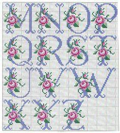 So pretty ~ cross stitch monograma alphabet with roses. Cross Stitch Alphabet Patterns, Cross Stitch Letters, Cross Stitch Baby, Cross Stitch Flowers, Cross Stitch Charts, Cross Stitch Designs, Stitch Patterns, Ribbon Embroidery, Cross Stitch Embroidery