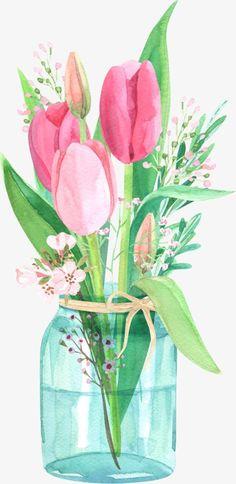 tulips in the jar Framed Art Print by Anyuka - Vector Black - MEDIUM Watercolor Cards, Watercolor Flowers, Watercolor Paintings, Watercolour, Painted Jars, Hand Painted, Arte Floral, Framed Art Prints, Decoupage