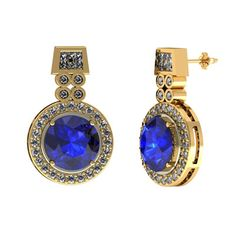 3.10 ctw Round Tanzanite Earring With 1.13ctw Diamonds in 14k Yellow Gold