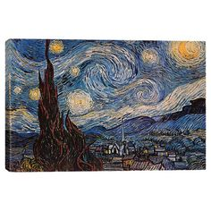Canvas reproduction print of Vincent Van Goghs Starry Night.   Product: Wall decorConstruction Material: C...