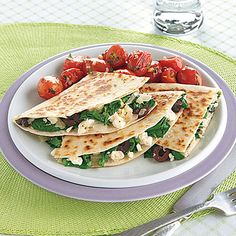 Spinach and Feta Quesadillas | MyRecipes