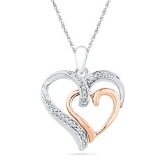 Diamond Accent Double Heart Pendant in Sterling Silver and 10K Rose Gold