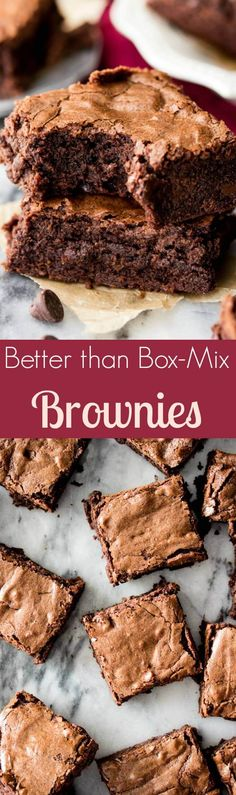Homemade Brownies from Scratch -- easy, chewy, chocolaty, and made in one bowl! || Sugar Spun Run via @sugarsunrun