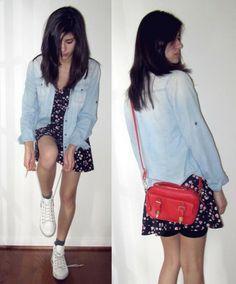 Blue Jean Jacket, Red Purse, White Shoes, Flower Print Dress