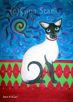 Chat-siamois-folk-art