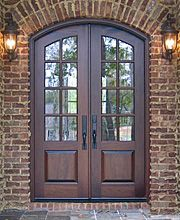 Front Door Country French Exterior Wood Entry Door Collection Style I like the brick. Arched Front Door, Double Front Entry Doors, Best Front Doors, Wood Entry Doors, The Doors, Patio Doors, Wooden Doors, Front French Doors, Balcony Door