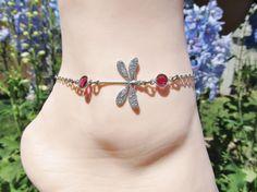 Dragonfly Anklet with Pink Swarovski Crystals by JasGlassArt