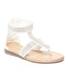 $9.99 This White Rhinestone Strap Sandal is perfect! #zulilyfinds
