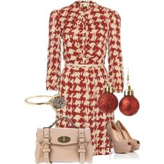 """""""Burberry Brit Leila Houndstooth Printed Silk Dress"""" by nicole-mcmurray on Polyvore"""
