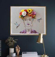 """Frida In The Garden II"" Flower Face Print – Print of original flower faces by Vicki Rawlins Hi-resolution print on Fuji Chrystal Archive paper with a matte finish 1/2"" in paper border on 4 sides for eas"