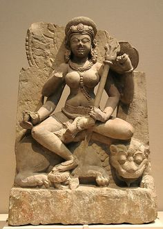 9th c four armed stone scullture of Maa Durga India