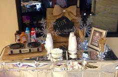 Winter ONEderland rustic hot chocolate bar