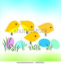 Chicks Illustration  - stock photo