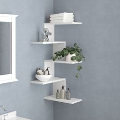 Wall & Display Shelves - This simple and popular floating style wall shelf has an innovative space-saving design while being - Corner Shelf Design, Diy Corner Shelf, Corner Wall Shelves, Wall Shelf Decor, Wall Shelves Design, Display Shelves, Decorating Wall Shelves, Corner Wall Decor, White Wall Shelves