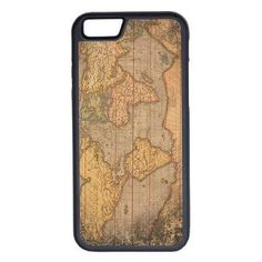 CellPowerCasesTM Vintage World Map iPhone 6 (4.7) Protective V1 Black... ($13) ❤ liked on Polyvore featuring accessories, tech accessories, phone cases e black